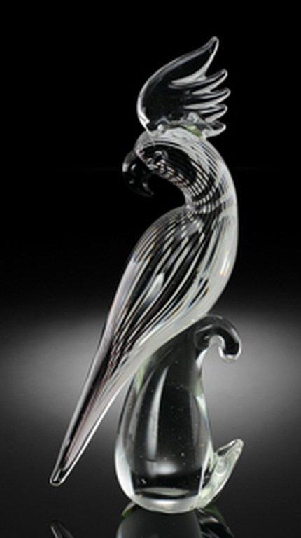 ART GLASS PARROT ON BRANCH