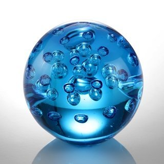 "ART GLASS BLUE BUBBLE SPHERE 3.5"" DIA"