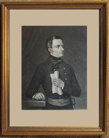 """1848 ANTIQUE ENGRAVING """"ALPHONSE DE LAMARTINE"""""""