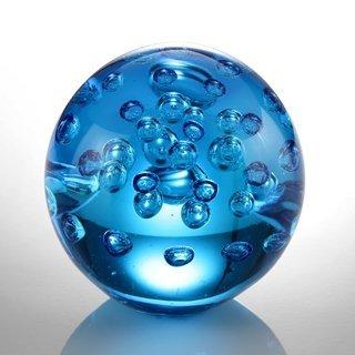 "ART GLASS BLUE BUBBLE SPHERE 3"" DIA"