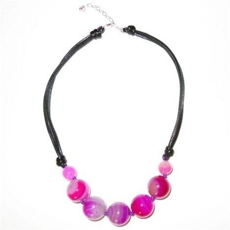 PINK AGATE - LEATHER AND STERLING SILVER NECKLACE