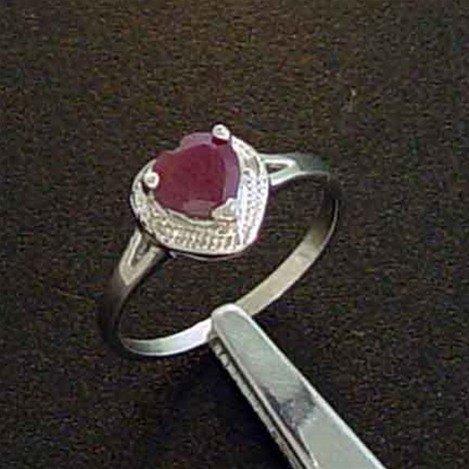 RUBY HEART & DIAMOND STERLING RING