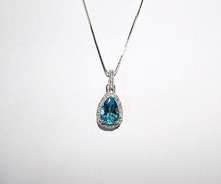 PEAR CUT BLUE TOPAZ & DIAMOND PENDANT