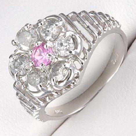 1.0 CTW. DIAMOND & PINK SAPPHIRE RING 10KW