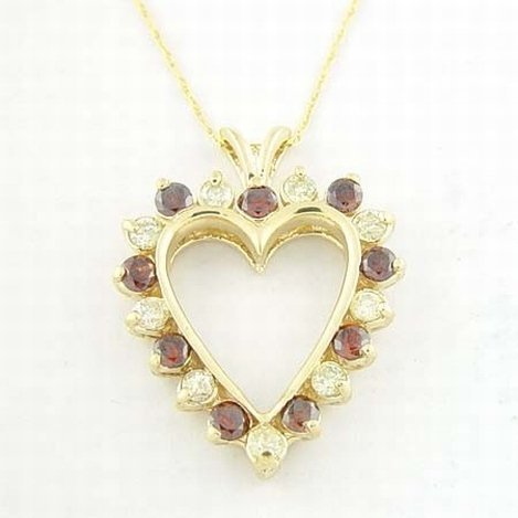 1.5 CTW RED & WHITE DIAMOND NECKLACE 10KY