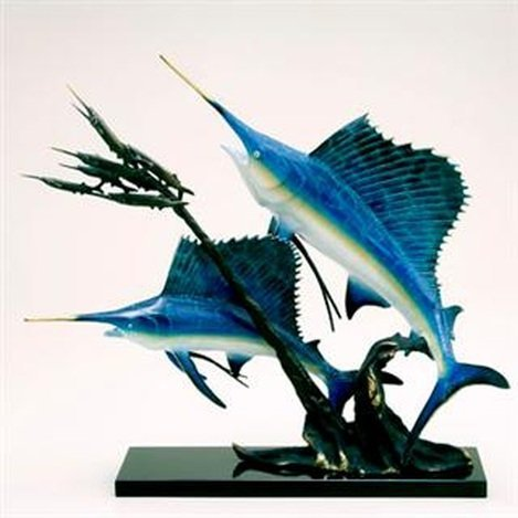 SAILFISH & BALLYHOO BRONZE SCULPTURE