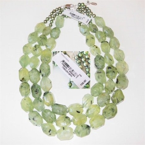 3-STRAND PREHINITE AND PEARL GEMSTONE NECKLACE