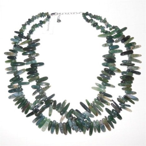 MOSS AGATE DOUBLE-STRAND GEMSTONE NECKLACE