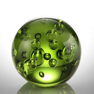 "ART GLASS GREEN BUBBLE SPHERE 3"" DIA"