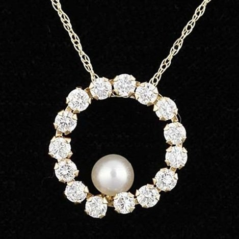 PEARL & WHITE SAPPHIRE 10KY NECKLACE
