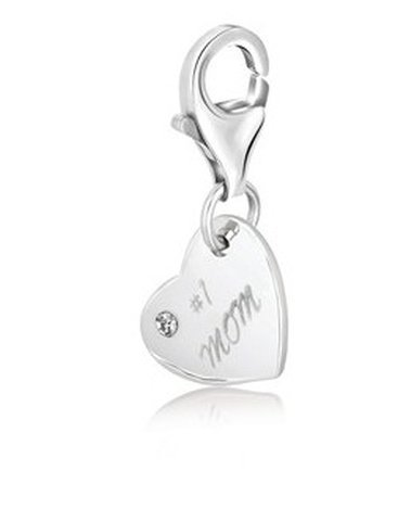 STERLING SILVER #1 MOM HEART CHARM WITH WHITE TONE