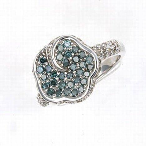 1.5 CTW.  BLUE & WHITE DIAMOND RING 10KW