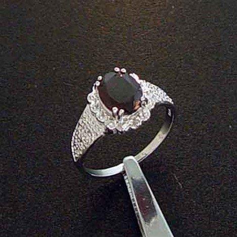 GARNET & DIAMOND STERLING RING