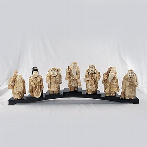 SEVEN CHINESE IMMORTALS - HAND CARVED