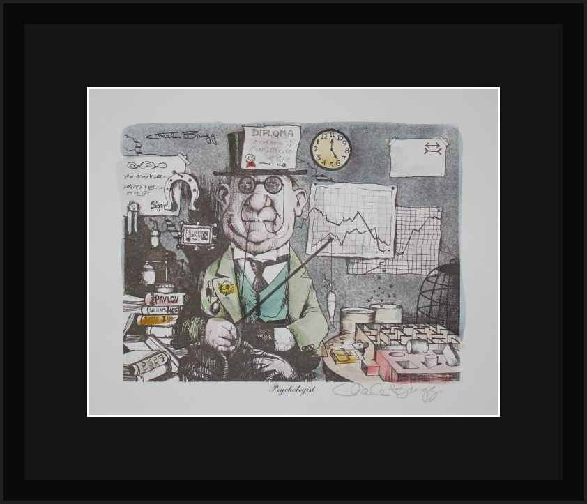 """CHARLES BRAGG """"PSYCHOLOGIST"""" HAND SIGNED LITHOGRAPH"""