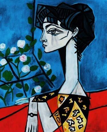 """PICASSO """"PORTRAIT OF JACQUELINE ROQUE W/FLOWERS"""""""