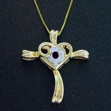 DIAMOND STERLING CROSS PENDANT & CHAIN