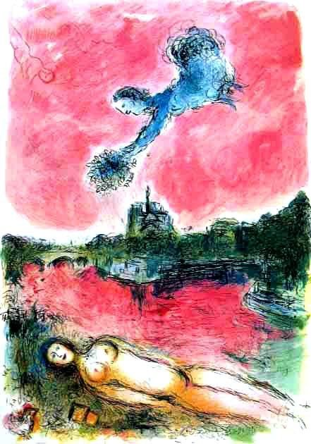 """CHAGALL """"VUE OF NOTRE DAME"""""""
