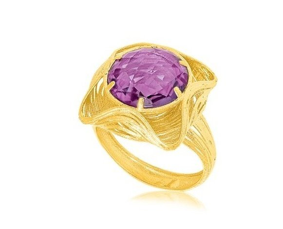 14KY GOLD WAVE MOTIF ROUND AMETHYST RING