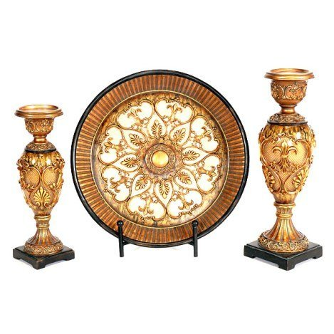 GILDED CHARGER AND CANDLEHOLDERS SET