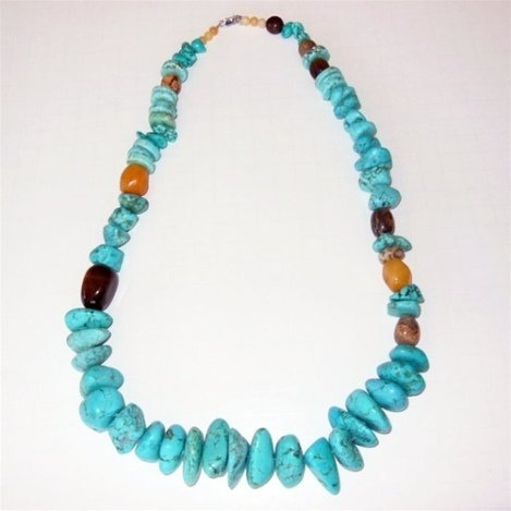 TURQUOISE BLUE MAGNESITE AND GEMSTONE NECKLACE