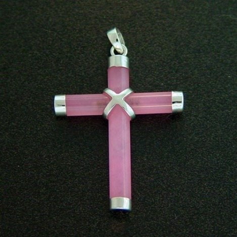 PINK JADE STERLING CROSS PENDANT