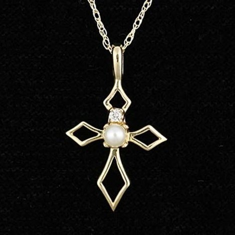 PEARL 10KY GOLD CROSS NECKLACE