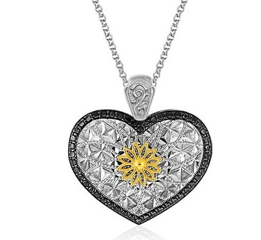 DESIGNER STERLING SILVER AND 14KY GOLD HEART PENDANT