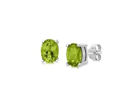 STERLING SILVER STUD STYLE OVAL PERIDOT EARRINGS-