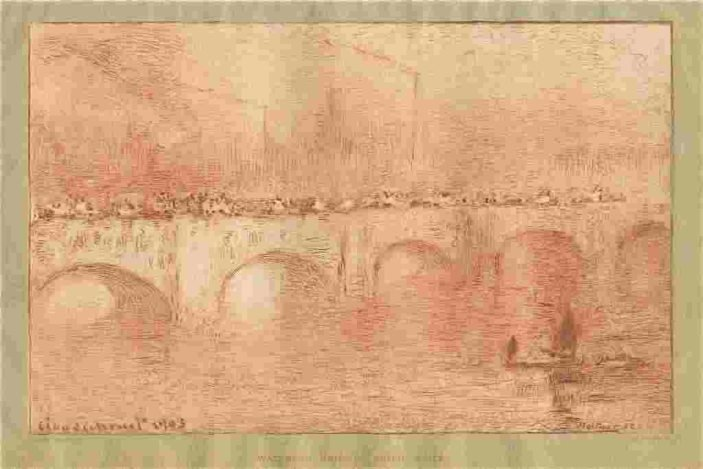 "MONET ETCHING ""WATERLOO BRIDGE, SOLIEL VOILÉ"""
