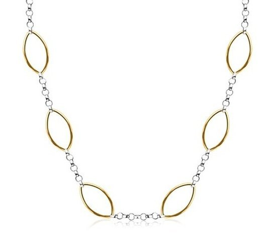 14KY GOLD & STERLING SILVER DESIGNER 18'' NECKLACE WITH