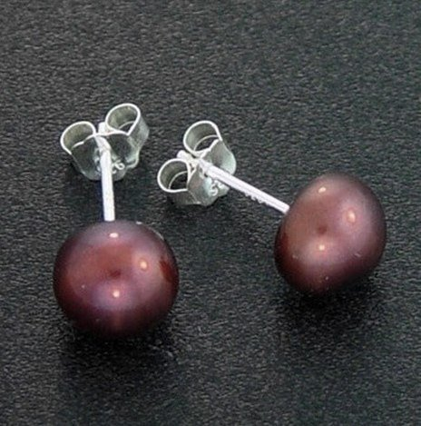 7 MM COPPER PEARL STUD EARRINGS