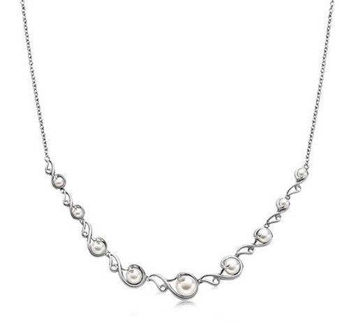 STERLING SILVER PEARL NECKLACE WITH BAROQUE SCROLLWORK