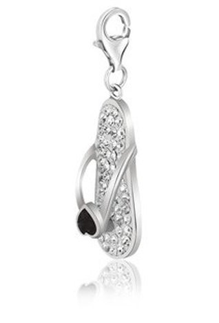 STERLING SILVER FLIP FLOP WHITE TONE CRYSTAL
