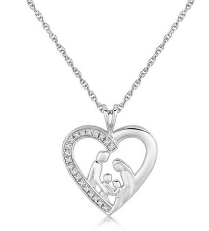 STERLING SILVER DIAMOND WITH FIGURES OPEN HEART PENDANT
