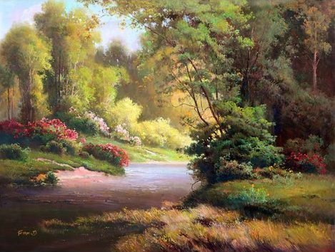 """GARDEN TRAIL""  EMBELLISHED GICLEE GALLERY WRAP"