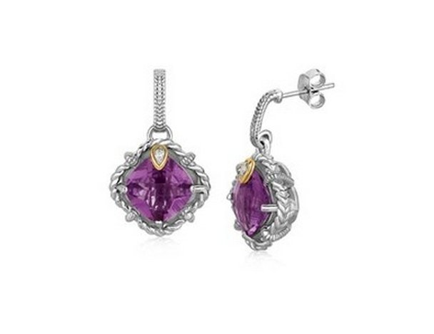 18KY GOLD AND STERLING SILVER CUSHION AMETHYST AND