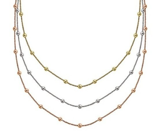 STERLING SILVER 3-STRAND STATIONED SPARKLE CHAIN