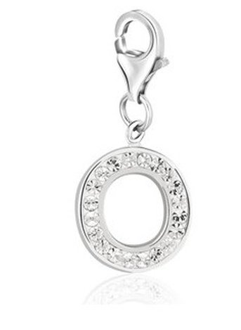 STERLING SILVER LETTER O WHITE TONE CRYSTAL ENCRUSTED