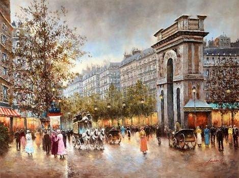 """PARISIAN STREET SCENE""  EMBELLISHED GICLEE GALLERY"