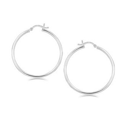 STERLING SILVER RHODIUM PLATED THIN AND POLISHED HOOP