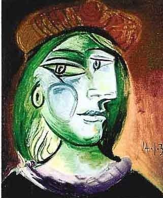 "PICASSO ""LADY WITH GREEN HAIR AND BROWN HAT"""