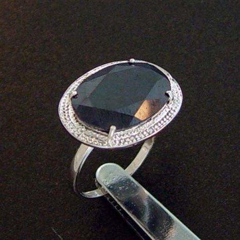 5.6 CTW. SAPPHIRE & DIAMOND RING - STERLING
