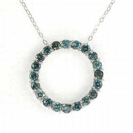 1 CTW BLUE DIAMOND CIRCLE NECKLACE 10KW