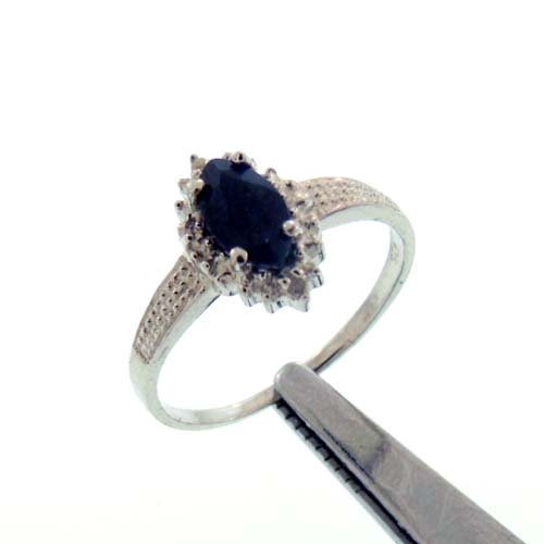 0.63CT BLUE SAPPHIRE AND DIAMOND STERLING RING