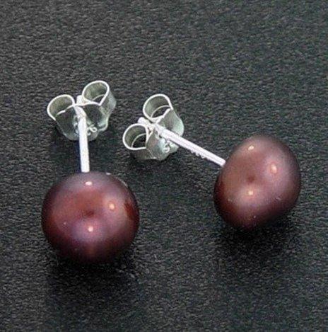 7 MM COPPER PEARL EARRINGS