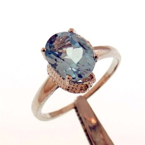 3CT BLUE TOPAZ AND DIAMOND STERLING RING