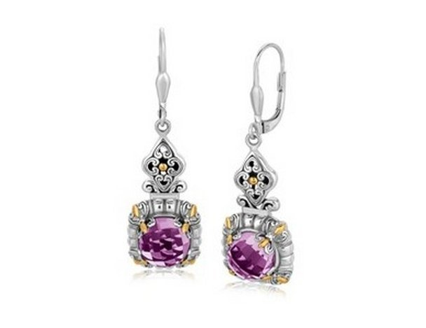 18KY GOLD & STERLING LILY DESIGNED AMETHYST DANGLING