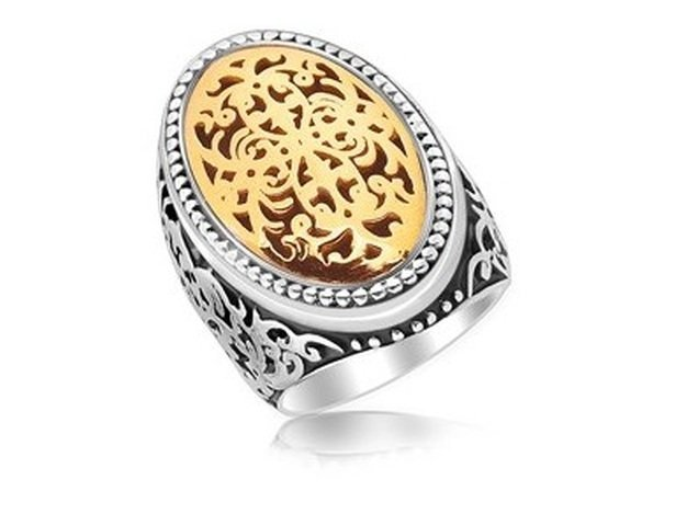 18KY GOLD & STERLING OVAL RING W/ SCROLLWORK & DOT
