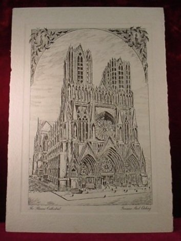 """ANTIQUE ETCHING """"THE RHEIMS CATHEDRAL"""""""